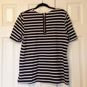 GAP Navy and White Stripe Top with Back Zip